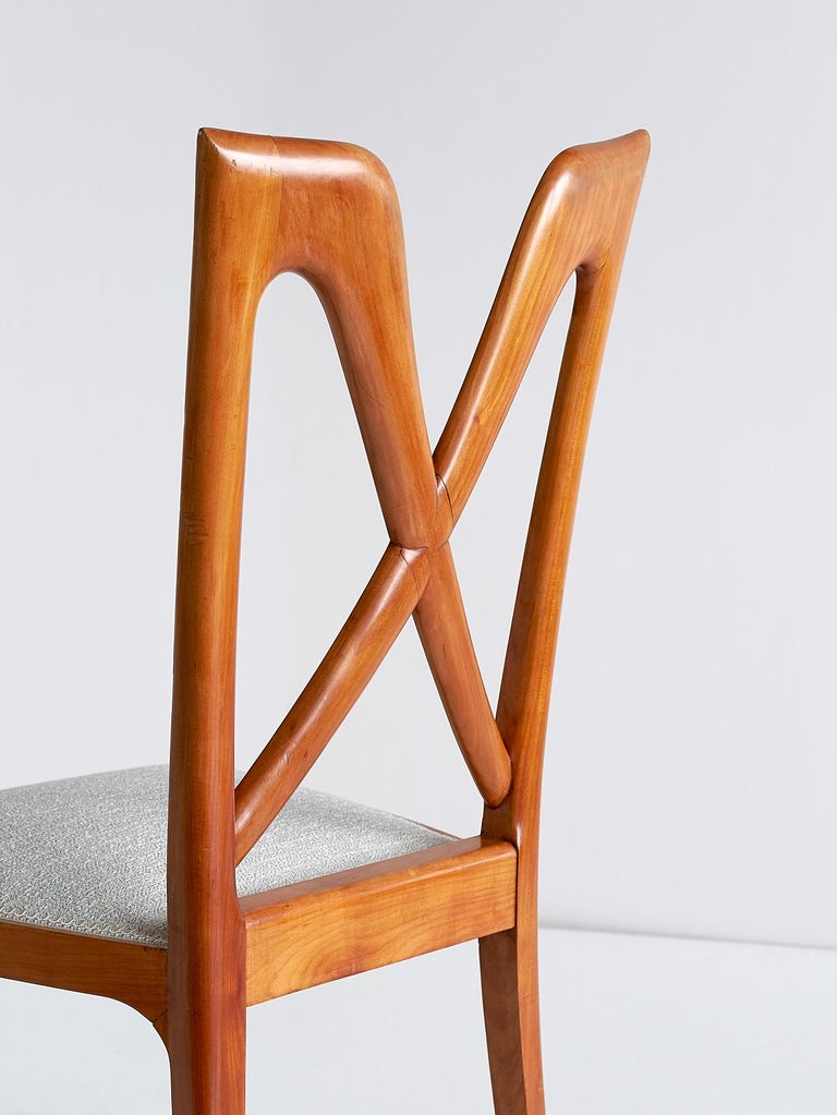 Set of Six Ulderico Carlo Forni Dining Chairs in Cherry Wood, Italy, 1940s For Sale 8
