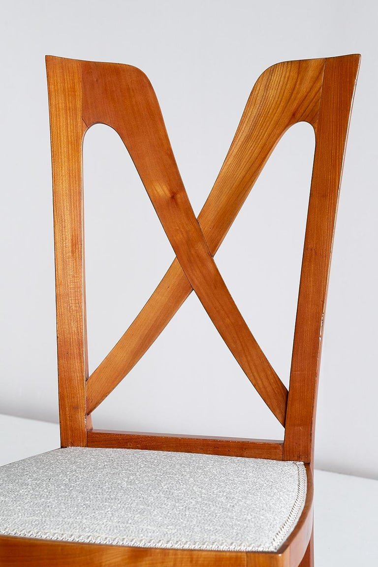 Set of Six Ulderico Carlo Forni Dining Chairs in Cherry Wood, Italy, 1940s For Sale 9