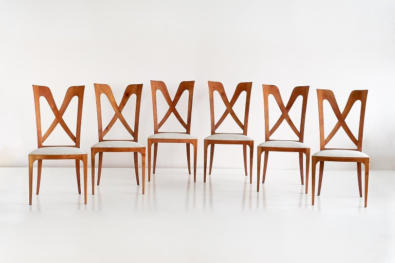 Modern Set of Six Ulderico Carlo Forni Dining Chairs in Cherry Wood, Italy, 1940s For Sale