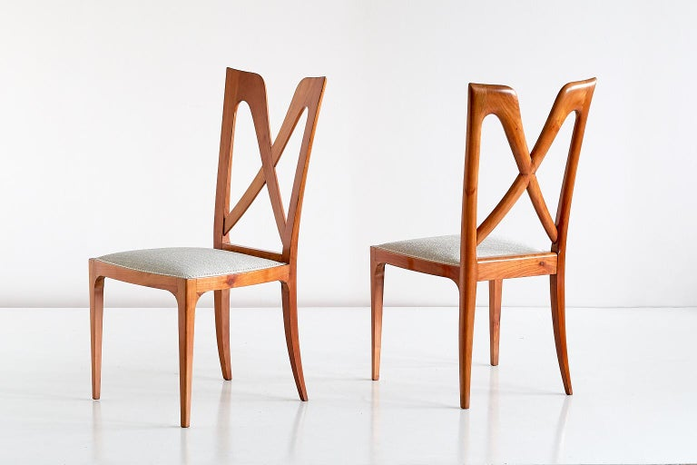 Set of Six Ulderico Carlo Forni Dining Chairs in Cherry Wood, Italy, 1940s In Good Condition For Sale In The Hague, NL