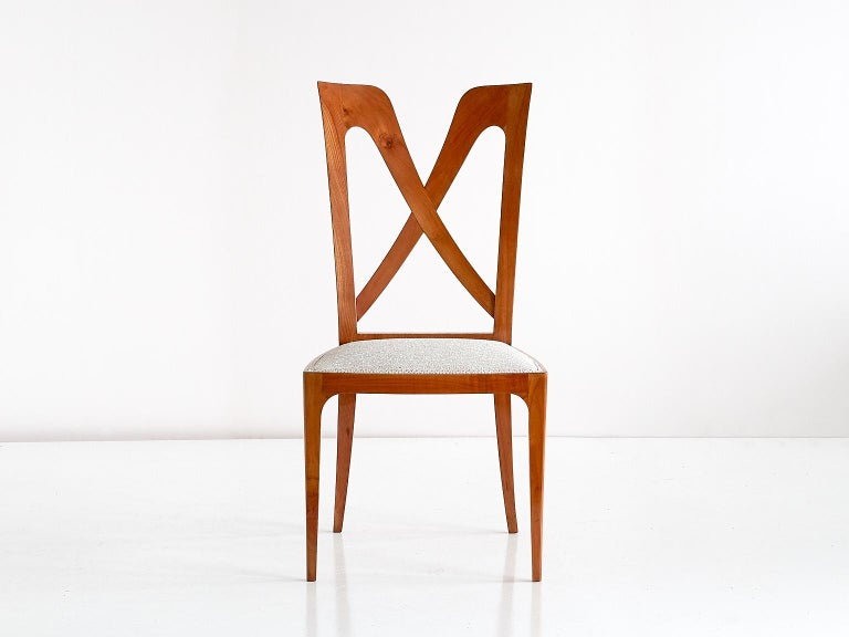 Fabric Set of Six Ulderico Carlo Forni Dining Chairs in Cherry Wood, Italy, 1940s For Sale