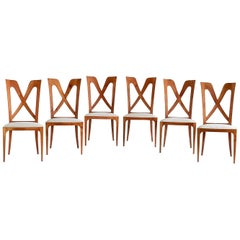 Set of Six Ulderico Carlo Forni Dining Chairs in Cherry Wood, Italy, 1940s