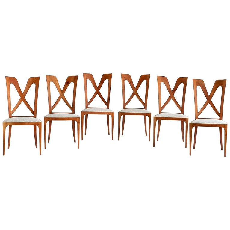 Set of Six Ulderico Carlo Forni Dining Chairs in Cherry Wood, Italy, 1940s For Sale