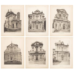 Set of Six Unframed Architectural Prints, Italy, Early 1900s