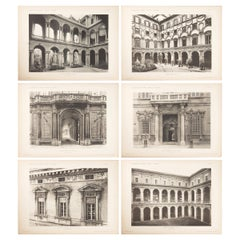 Set of Six Unframed Architectural Prints, Italy Early 1900s