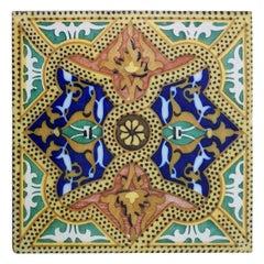 Set of Six Unique Antique Six Ceramic Tiles, Onda, Spain Valencia, circa 1900