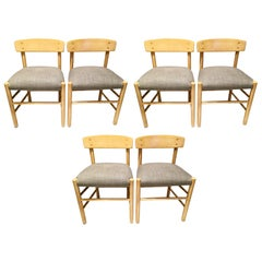 """Set of Six Upholstered Børge Mogensen J39 """"People's Chairs"""""""
