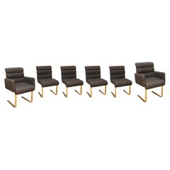 Set of Six Upholstered Brass Dining Chairs
