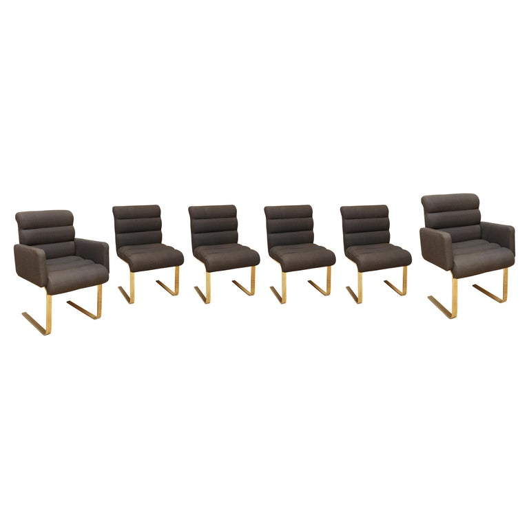 Set of Six Upholstered Brass Dining Chairs For Sale