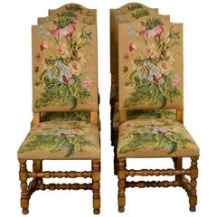 Set of Six Upholstered Dining Chairs with Fine Floral Tapestry and Turned Legs