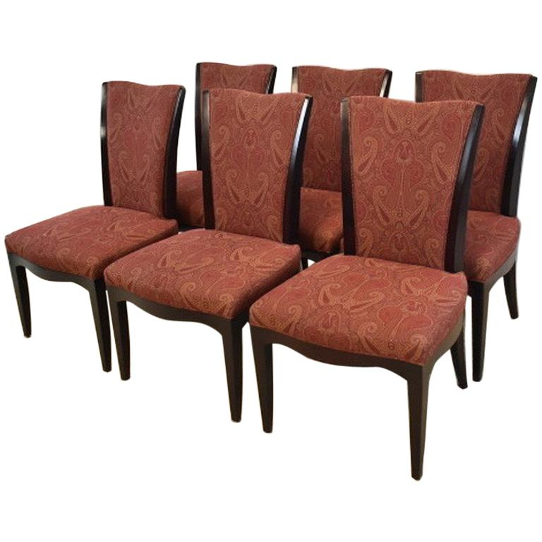 Set of Six Upholstered Dining Room Chairs by Barbara Barry for Baker Furniture For Sale