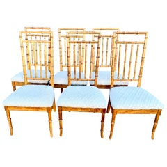 Set of Six Upholstered Fruitwood Bamboo Style Dining Chairs