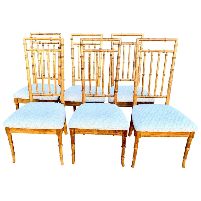 Set of Six Upholstered Fruitwood Bamboo Style Dining Chairs For Sale