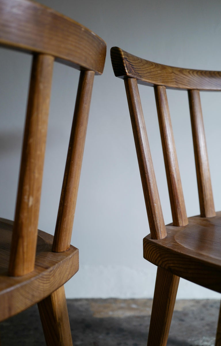 Set of Six Utö Chairs by Axel Einar Hjorth in Pine for Nordiska Kompaniet, 1930s For Sale 3