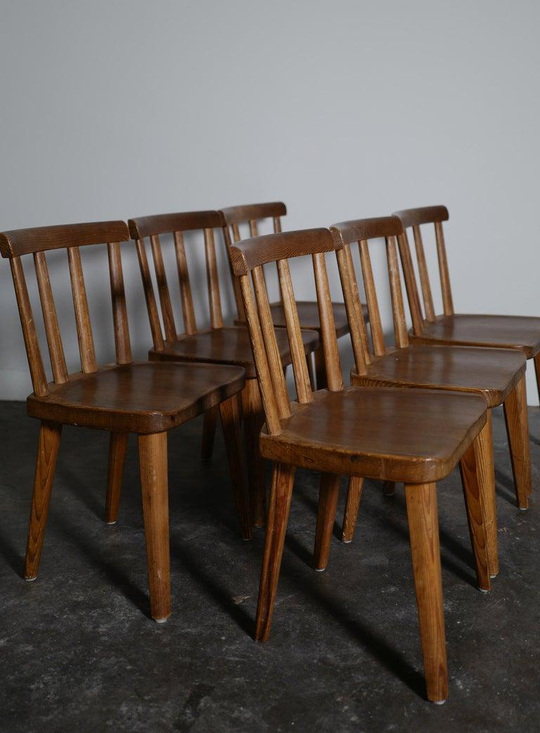 Swedish Set of Six Utö Chairs by Axel Einar Hjorth in Pine for Nordiska Kompaniet, 1930s For Sale