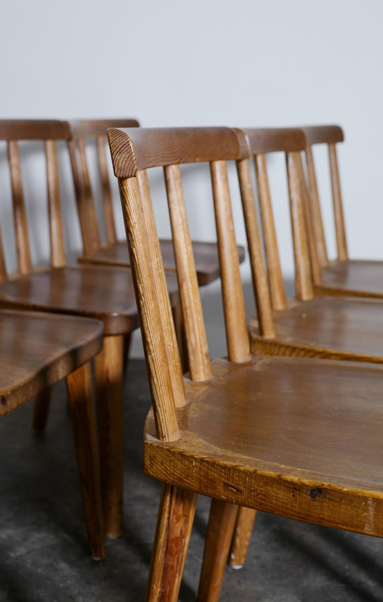 Stained Set of Six Utö Chairs by Axel Einar Hjorth in Pine for Nordiska Kompaniet, 1930s For Sale