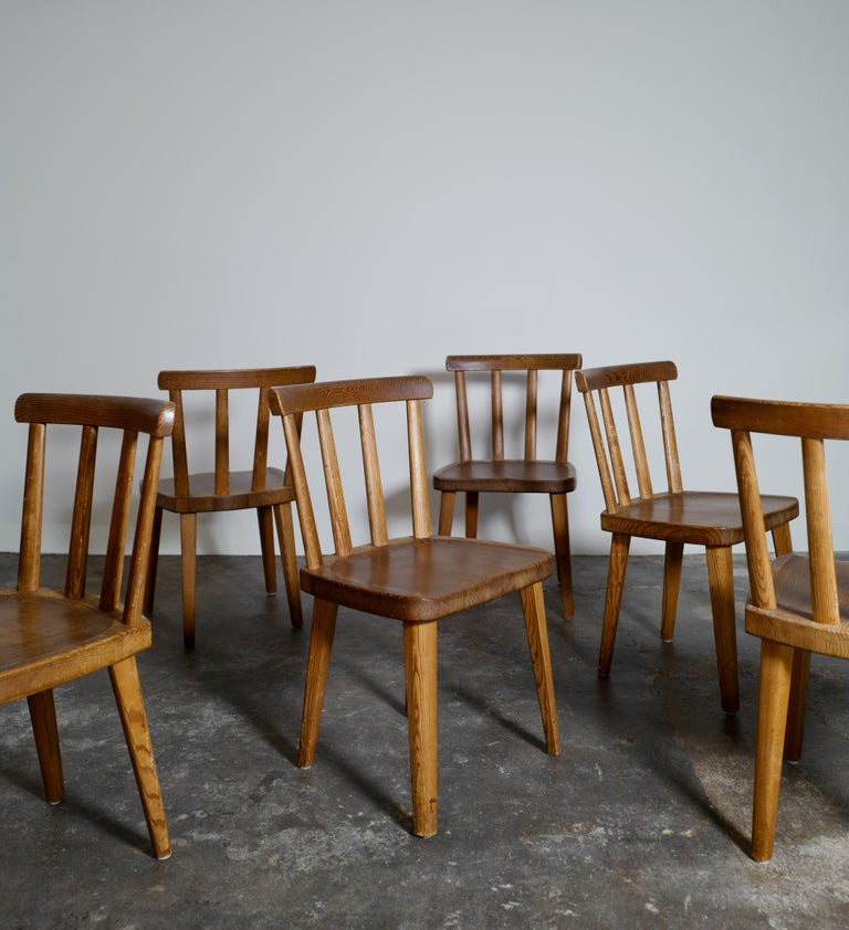 Set of Six Utö Chairs by Axel Einar Hjorth in Pine for Nordiska Kompaniet, 1930s For Sale 1