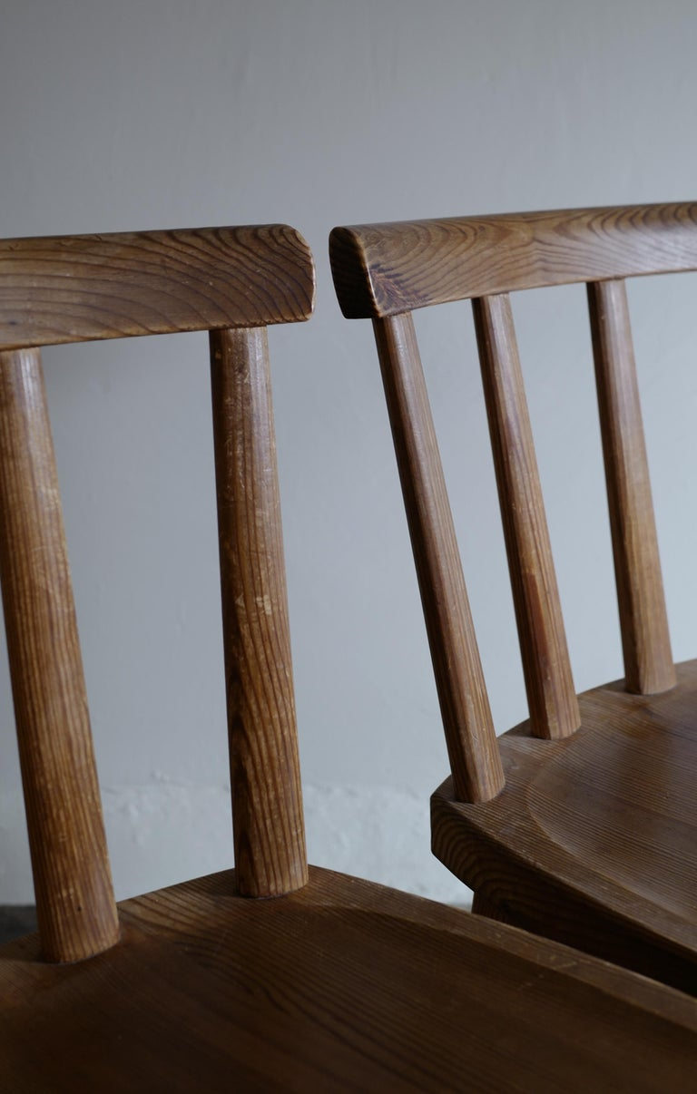 Set of Six Utö Chairs by Axel Einar Hjorth in Pine for Nordiska Kompaniet, 1930s For Sale 2