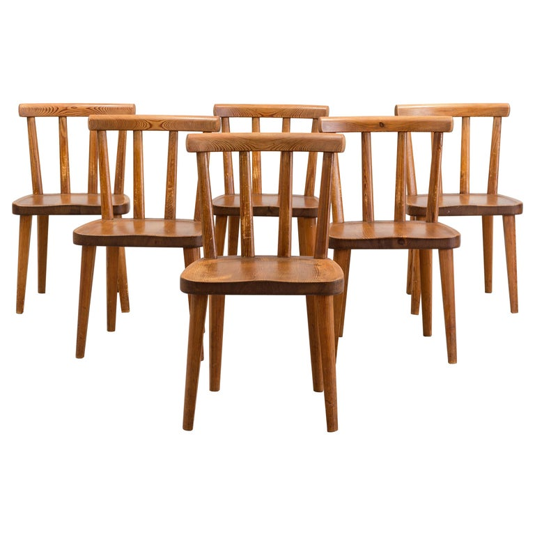 Set of Six Utö Chairs by Axel Einar Hjorth in Pine for Nordiska Kompaniet, 1930s For Sale