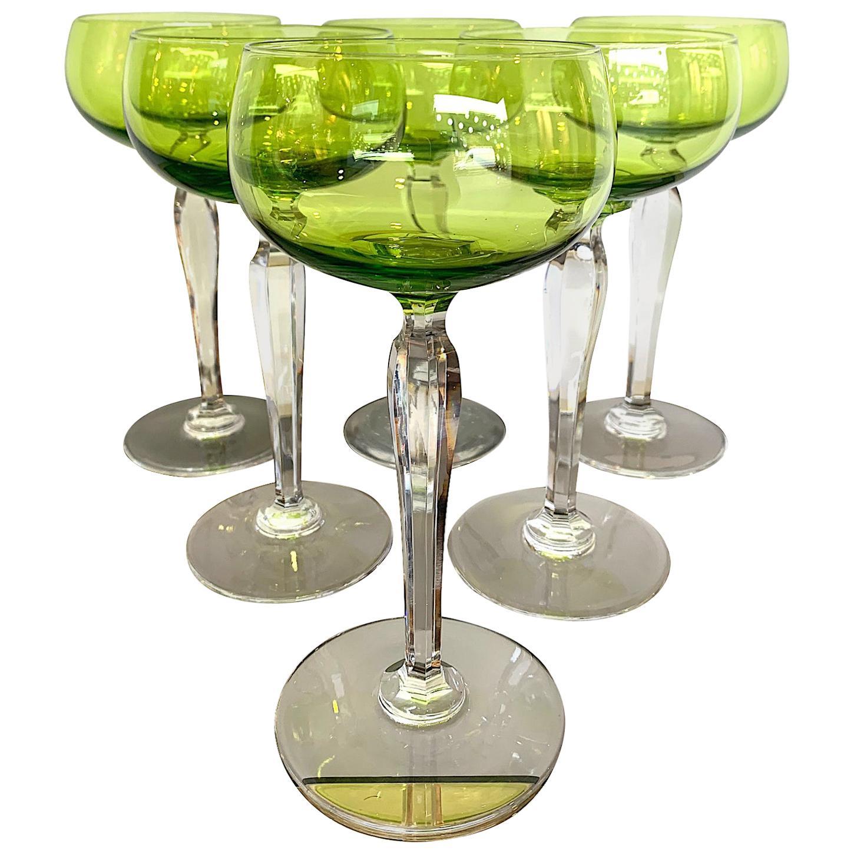Set of Six Val Saint Lambert Green Crystal Hock Glasses