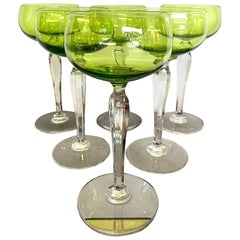 Set of Six Val Saint Lambert Green Crystal Hock Glasses