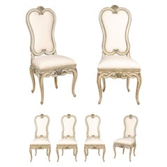 Set of Six Venetian Early 20th Century Dining Room Chairs with Off-White Fabric