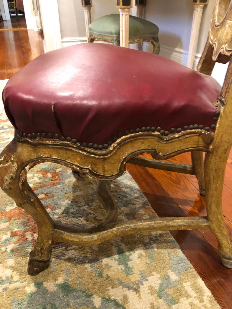 Set of Six Venetian Painted Dining Chairs For Sale 7