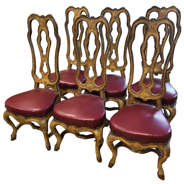 Set of Six Venetian Painted Dining Chairs For Sale
