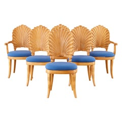 Set of Six Venetian Shell Back Grotto Dining Chairs