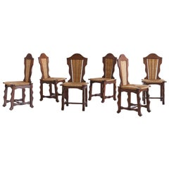 Set of Six Victor Courtray Attributed Dining Chairs in Oak and Rush, 1950s