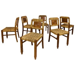 Set of Six Victor Courtray Dining Chairs, circa 1940, France