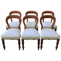 Set of Six Victorian Balloon Back Dining Chairs Ivory Upholstery, circa 1860