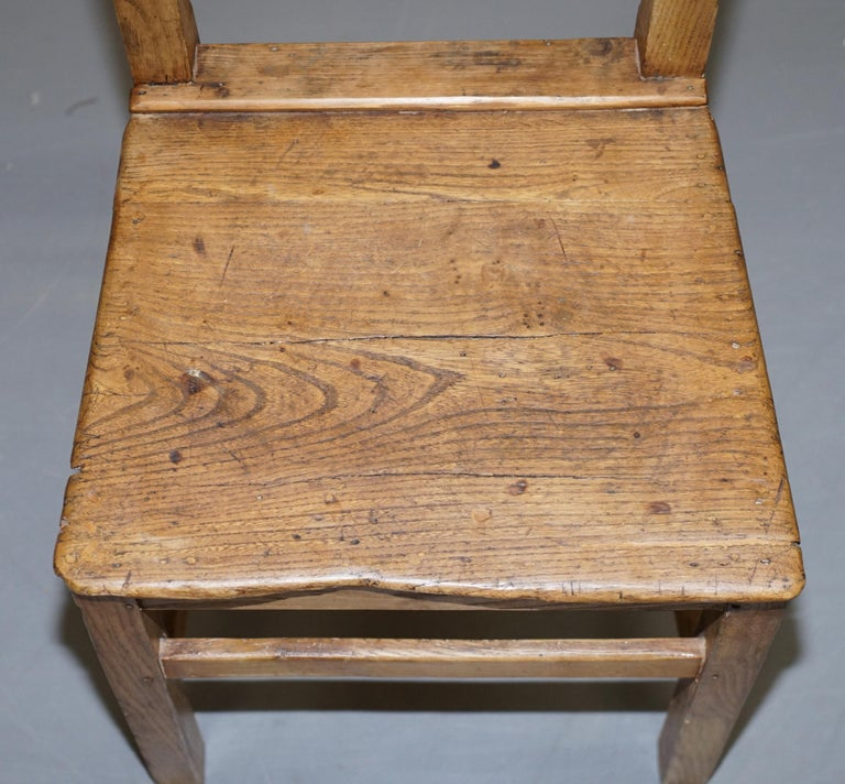 Set of Six Victorian Elm and Oak Dining Room Chairs Stunning Timber Eight Ten For Sale 6