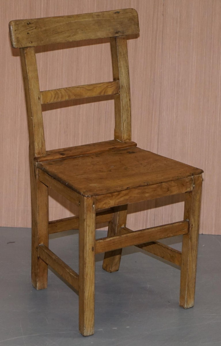 Set of Six Victorian Elm and Oak Dining Room Chairs Stunning Timber Eight Ten For Sale 11