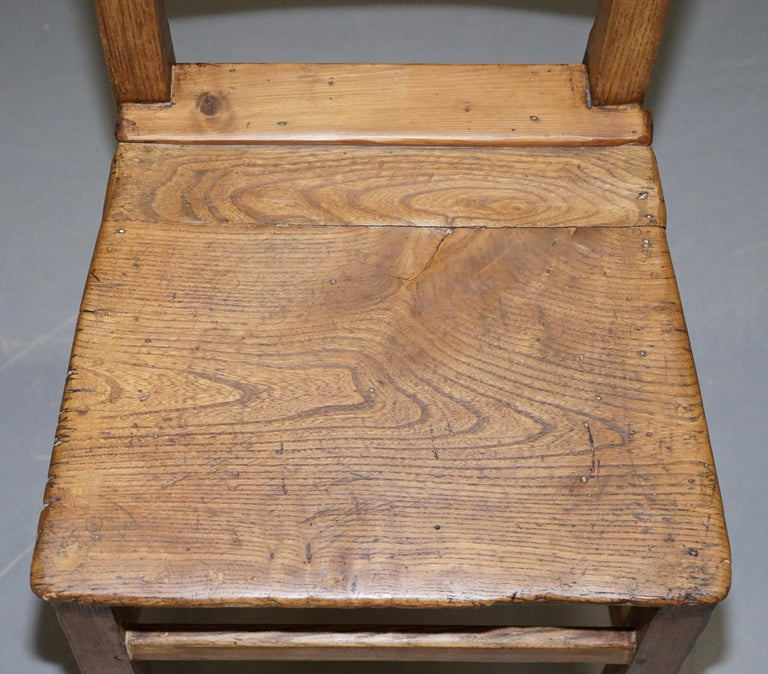 Hand-Crafted Set of Six Victorian Elm and Oak Dining Room Chairs Stunning Timber Eight Ten For Sale