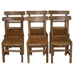 Set of Six Victorian Elm and Oak Dining Room Chairs Stunning Timber Eight Ten