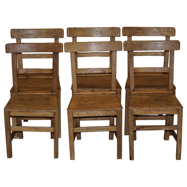 Set of Six Victorian Elm and Oak Dining Room Chairs Stunning Timber Eight Ten For Sale