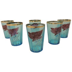 Set of Six Victorian Hand Painted Tea Glasses