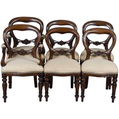 Set of Six Victorian Style Balloon Back Dining Chairs