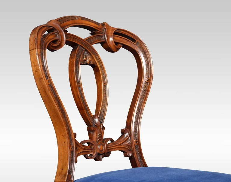 British Set of Six Victorian Walnut Dining Room Chairs For Sale