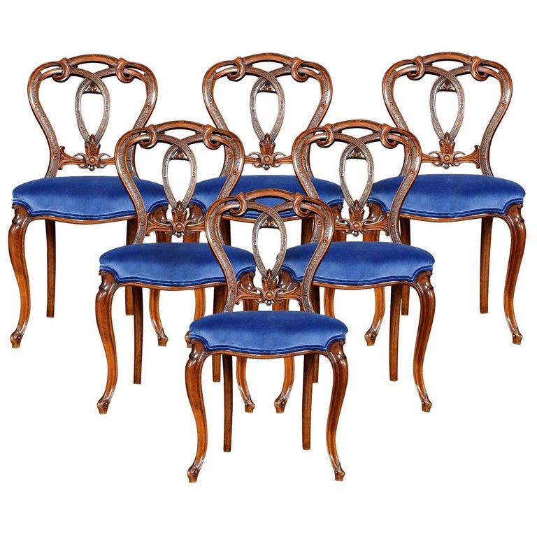 Set of Six Victorian Walnut Dining Room Chairs For Sale