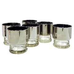 Set of Six Vintage Barware Glasses with Silver Fade by Dorothy Thorpe, c. 1960's