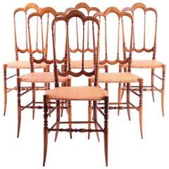 "Set of Six Vintage Chiavari ""Tre Archi"" Chairs, Italy"
