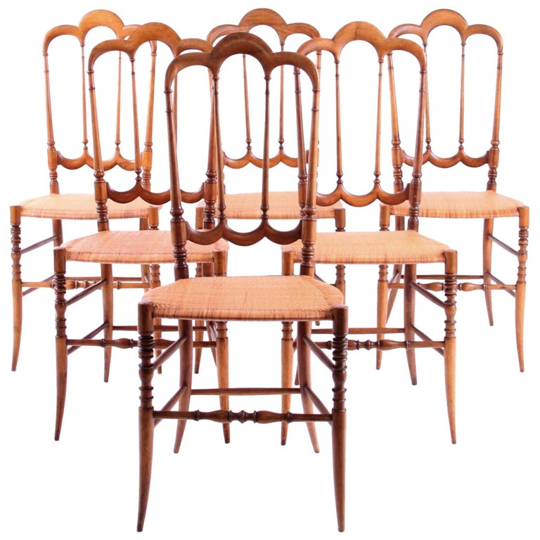 """Set of Six Vintage Chiavari """"Tre Archi"""" Chairs, Italy For Sale"""