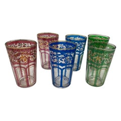 Set of Six Vintage Colored Glasses with Gold Raised Moorish Design