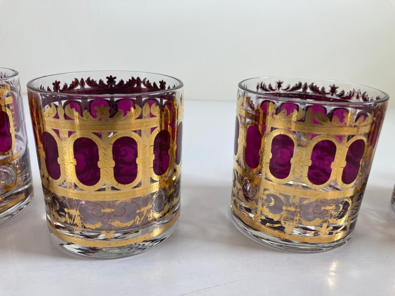 Set of Six Vintage Culver Glasses with 22-Karat Gold and Red Moorish Design For Sale 4