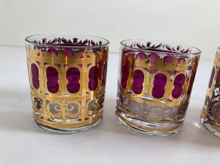 Set of Six Vintage Culver Glasses with 22-Karat Gold and Red Moorish Design For Sale 5