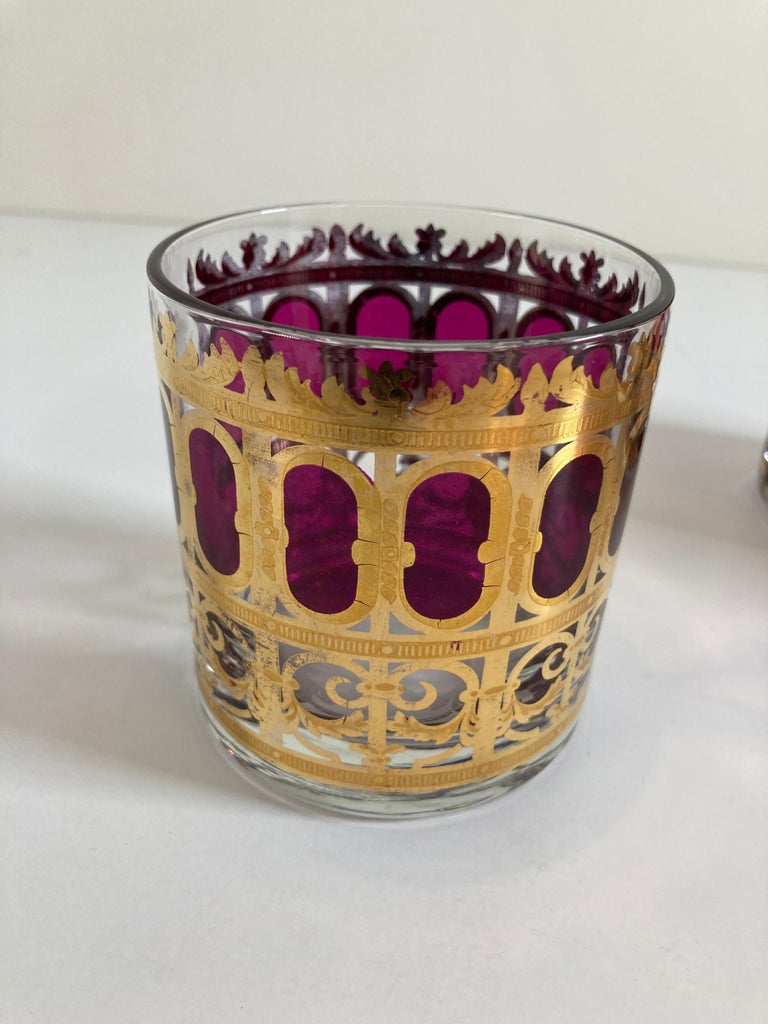 Set of Six Vintage Culver Glasses with 22-Karat Gold and Red Moorish Design For Sale 6