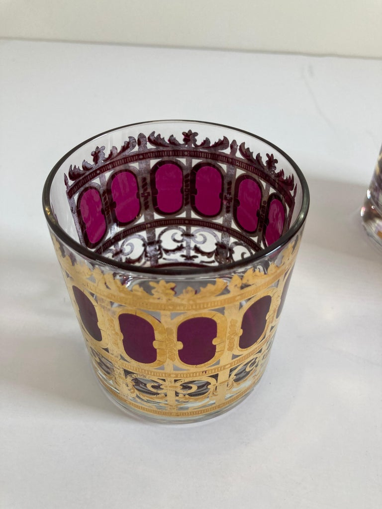 Set of Six Vintage Culver Glasses with 22-Karat Gold and Red Moorish Design For Sale 7