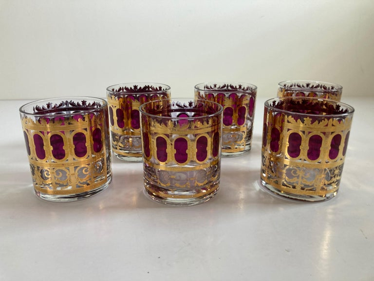 American Set of Six Vintage Culver Glasses with 22-Karat Gold and Red Moorish Design For Sale